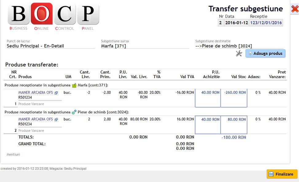 vizualizare bon transfer produse intre conturi