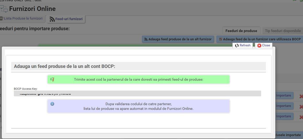 access key pentru transfer produse BOCP