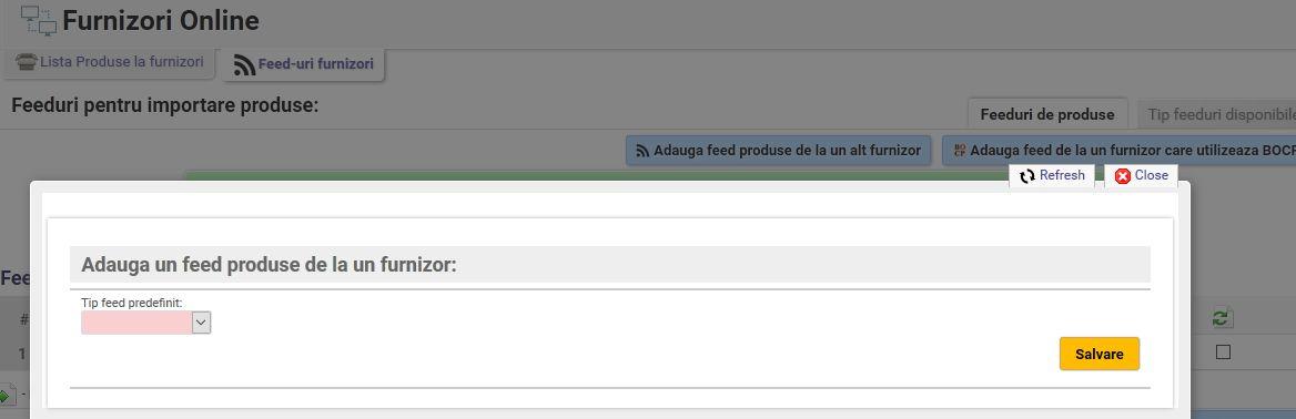 adaugare feed import produse in gestiune