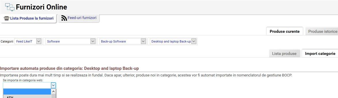 import categorii produse din feed