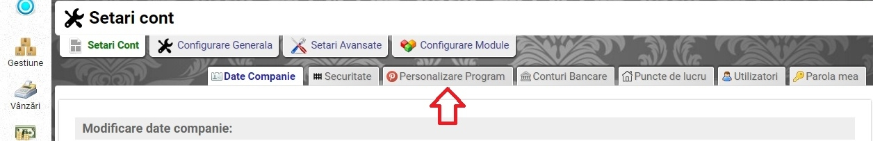 Setari cont - Personalizare program